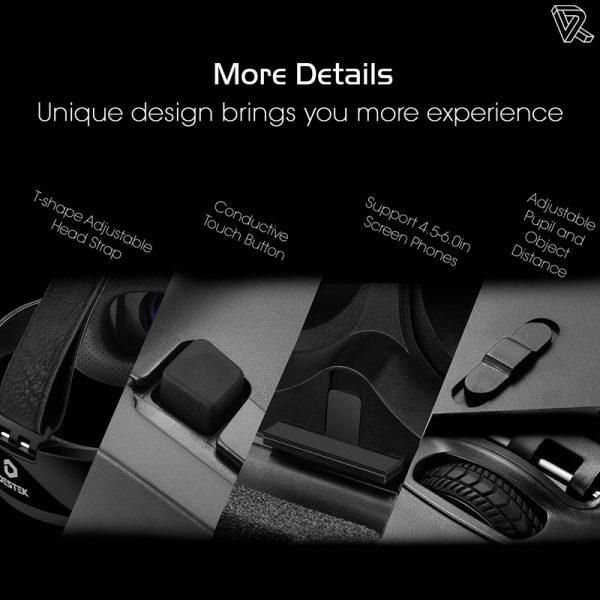 Gafas de realidad virtual Destek V4 VR Daydream View 103 FOV HD para Smartphone